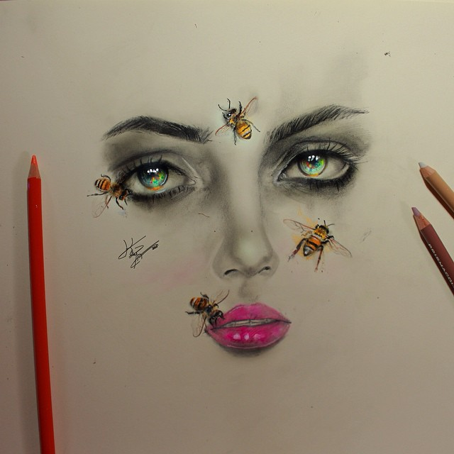woman face color pencil drawings by kayan artcisne