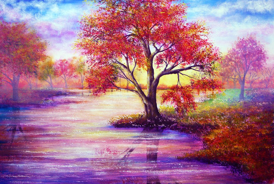 autumn waters colorful nature paintings by ann marie bone