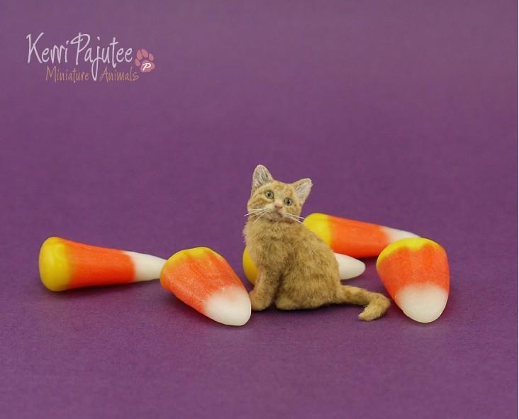 6 cat miniature animal sculpture by kerri pajutee