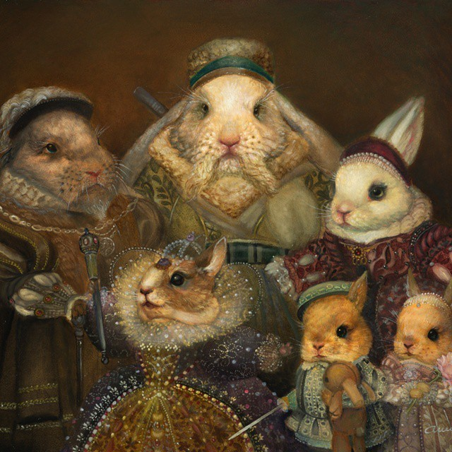 mouse animal family surreal paintings by annie stegg