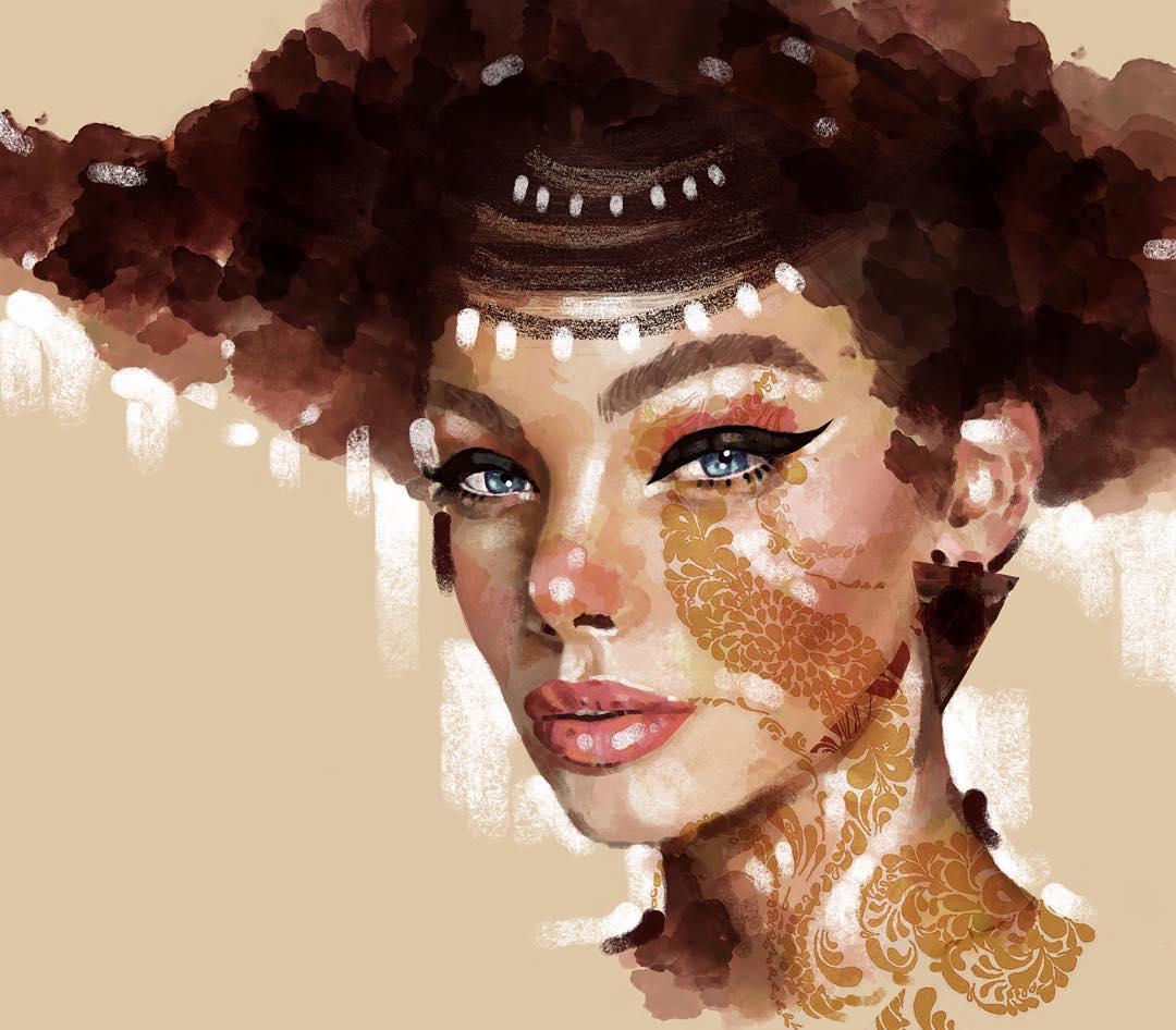 6 unique model portrait paintings by eman zogbi
