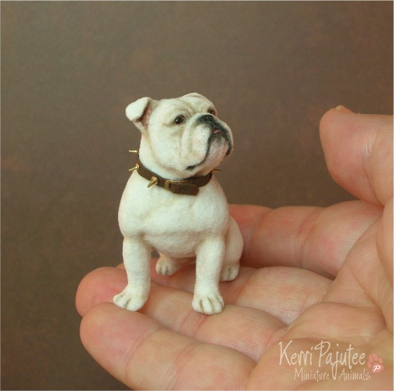 bulldog miniature animal sculpture by kerri pajutee