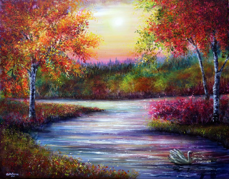 evening solace colorful nature paintings by ann marie bone