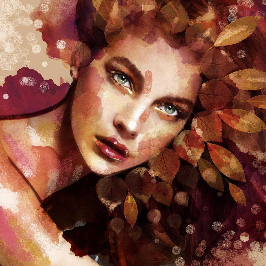 autumn lady portrait paintings by eman zogbi