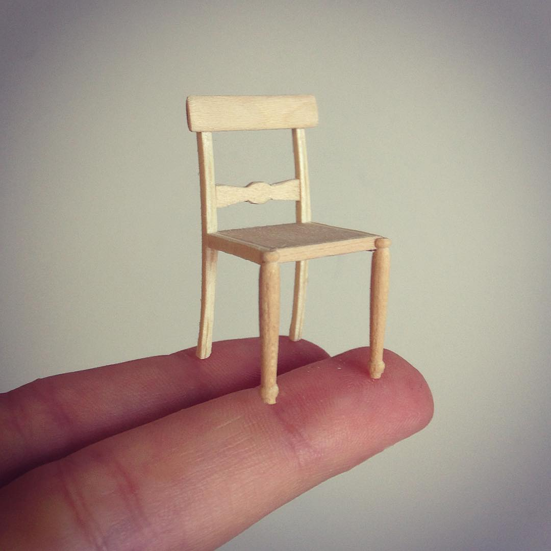 8 chair miniature sculptures by emily boutard