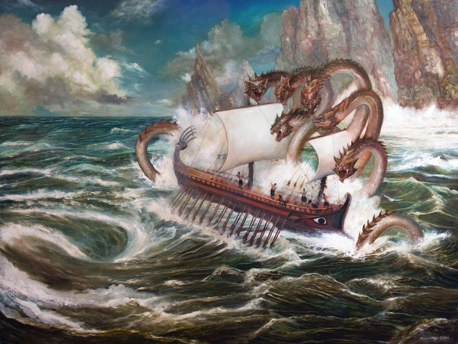 odysseus scylla surreal paintings by annie stegg