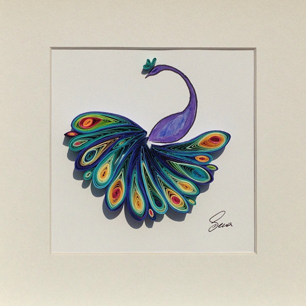peacock animal quilling art by sena runa