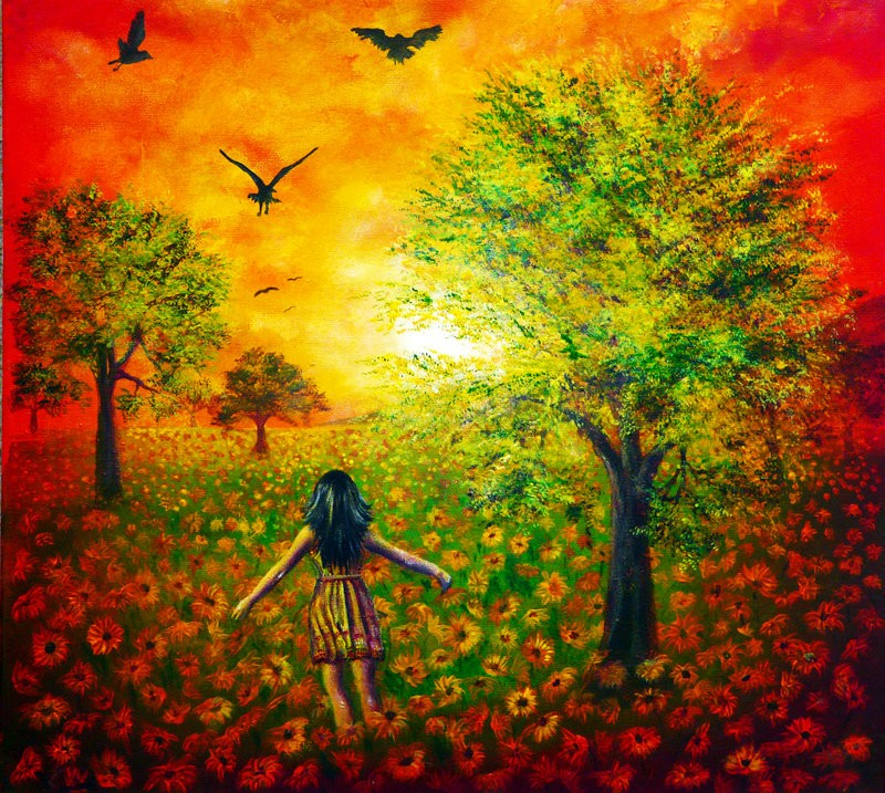 sunflower sky colorful nature paintings by ann marie bone