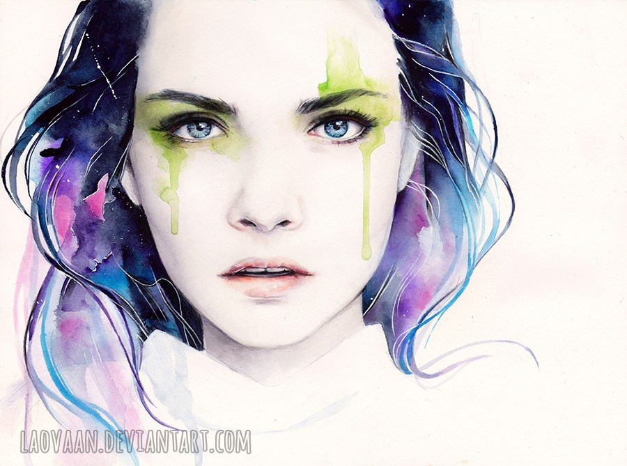 9 cara delevingne watercolor paintings by laovaan