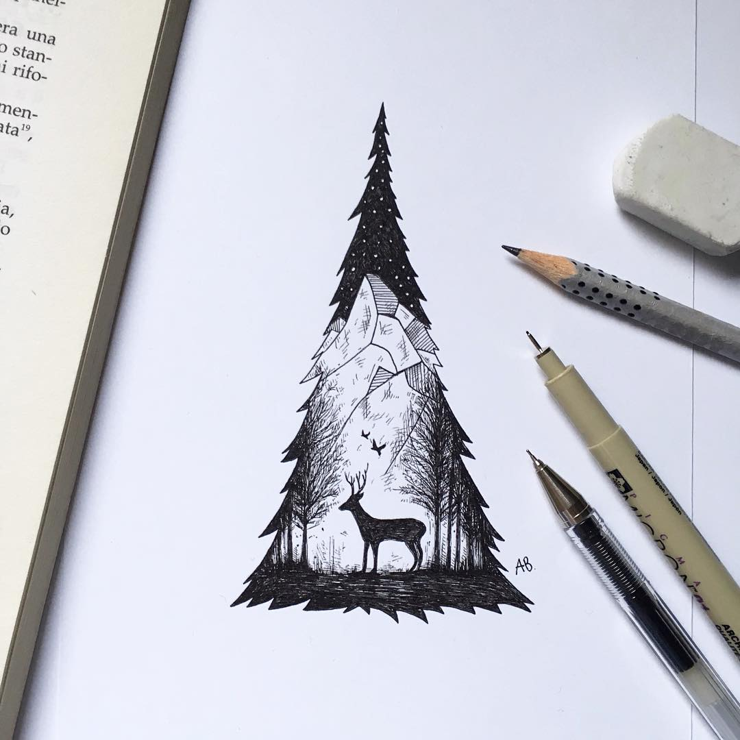 surreal drawing deer xmas tree alfred basha