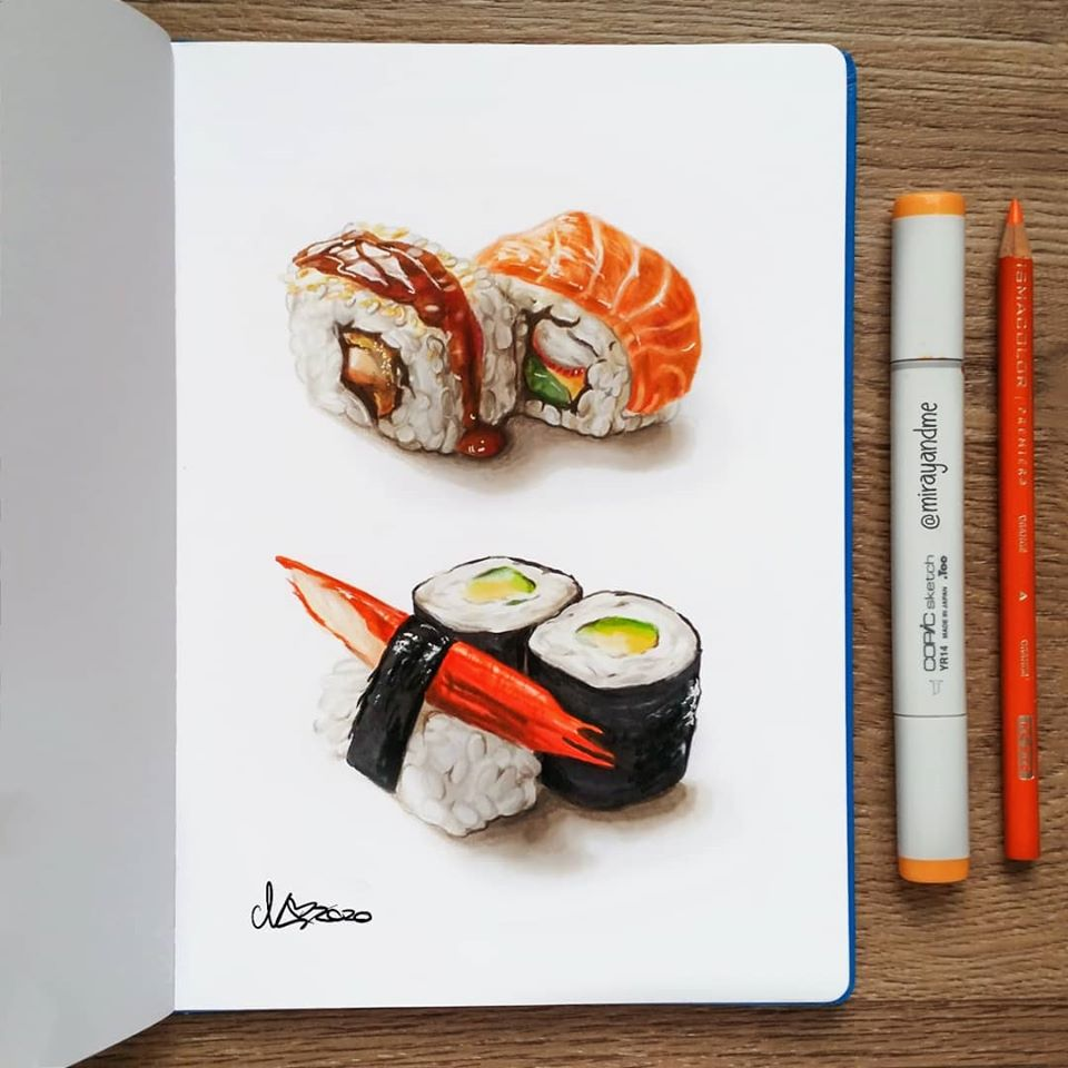 color pencil drawing sushi miray
