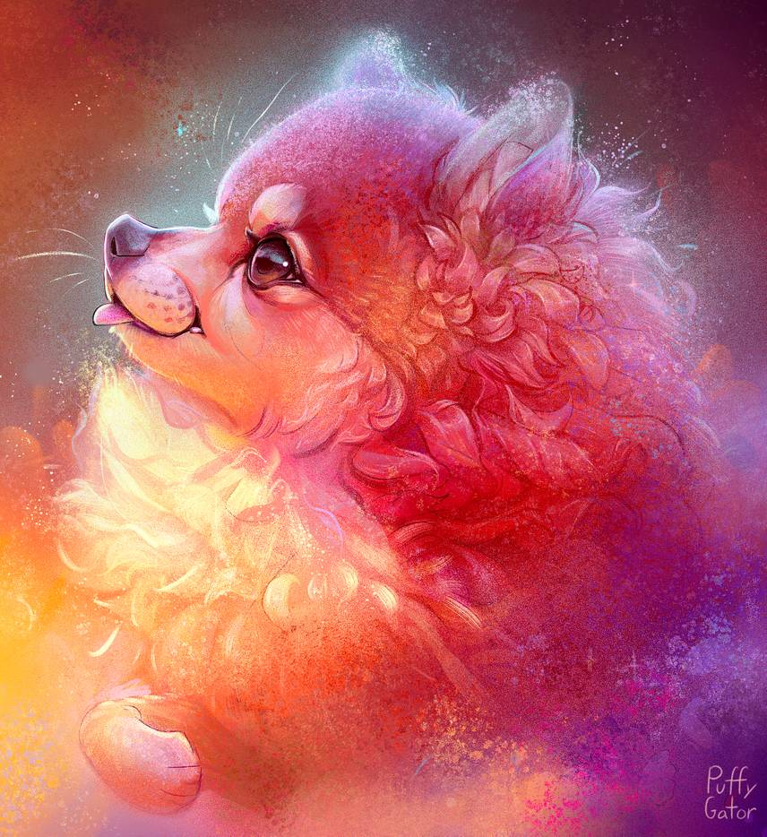 1 digital art cosmic dog puffy gator
