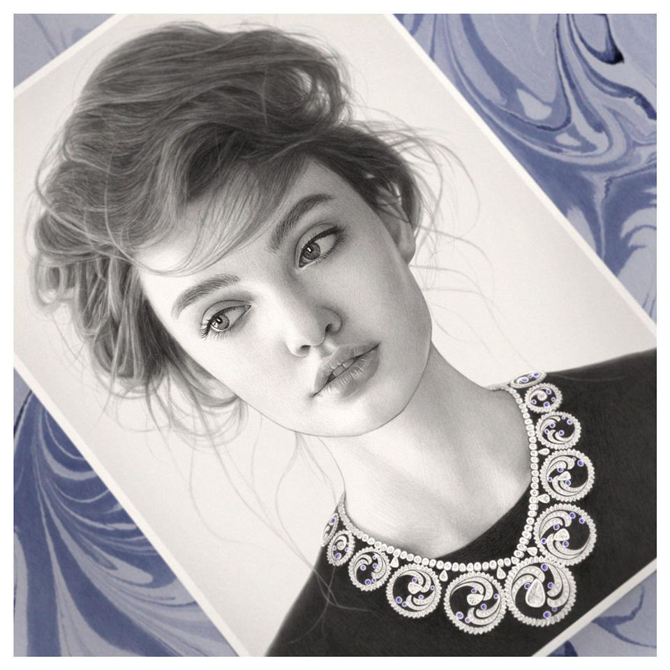 realistic pencil drawing black dress evgeni koroliov