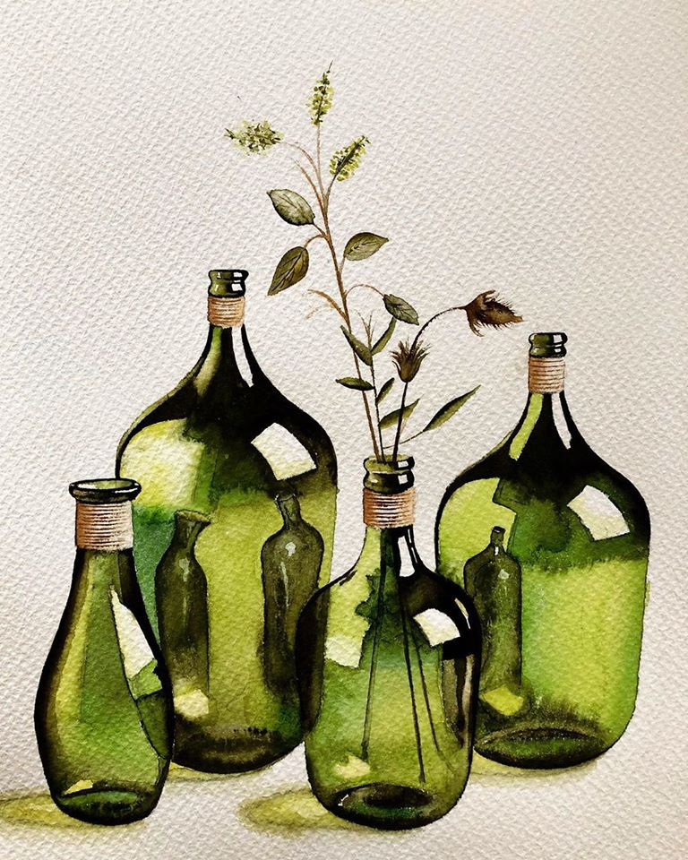 still life watercolor painting bottle serpil umit