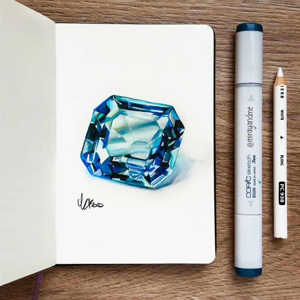 color pencil drawing diamond miray