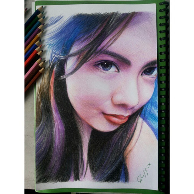 color pencil drawing smile cliff beron