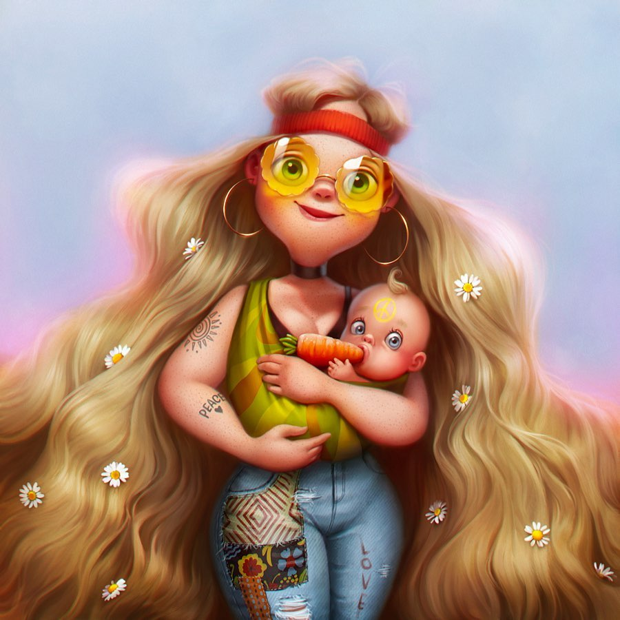 digital paintings cartoon girl lera kiryakova