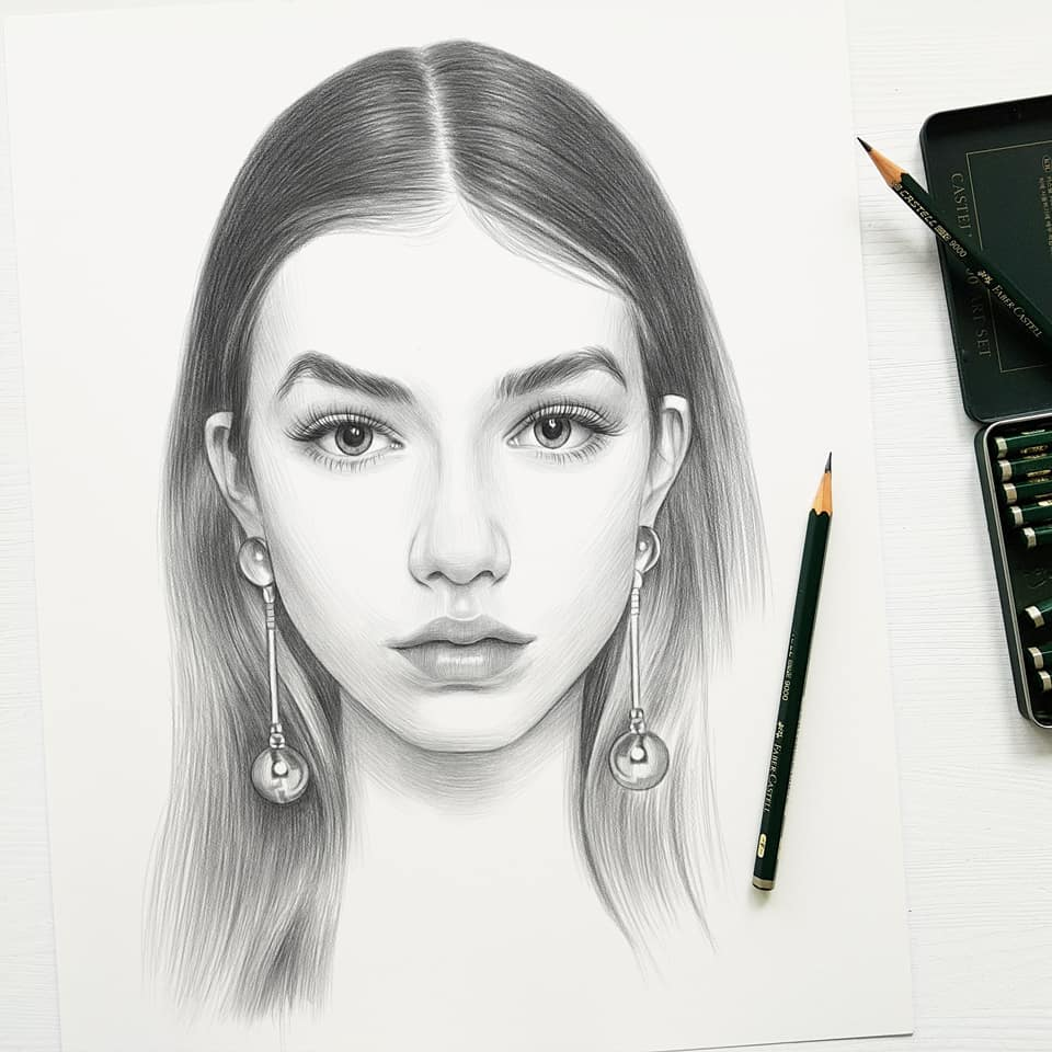 realistic pencil drawing long earrings evgeni koroliov
