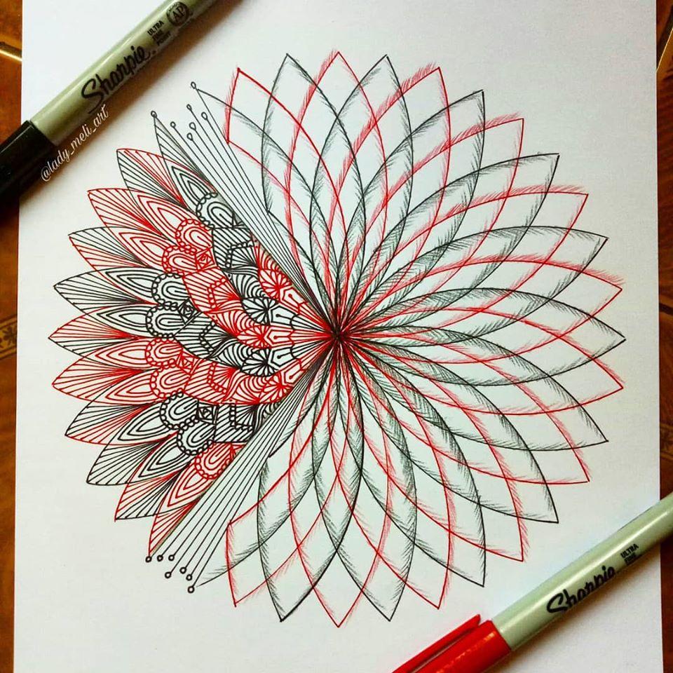 doodle art flame lady meli art