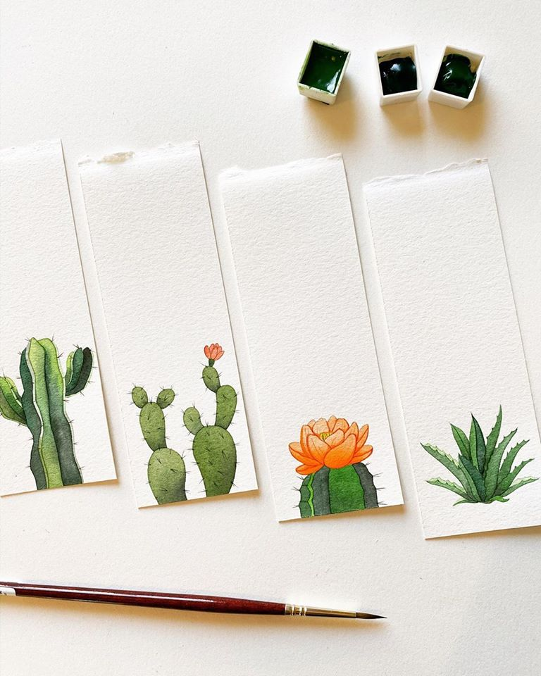 watercolor painting cactus mia