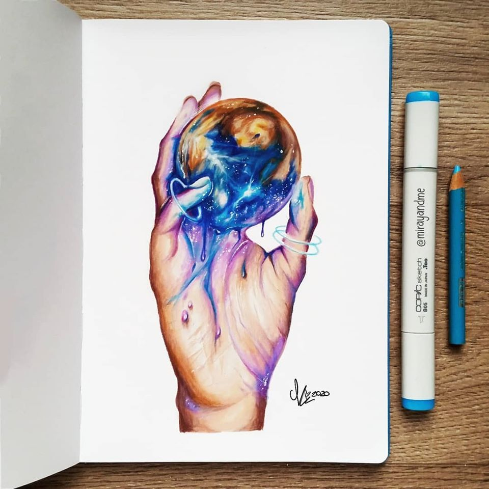 color pencil drawing earth miray