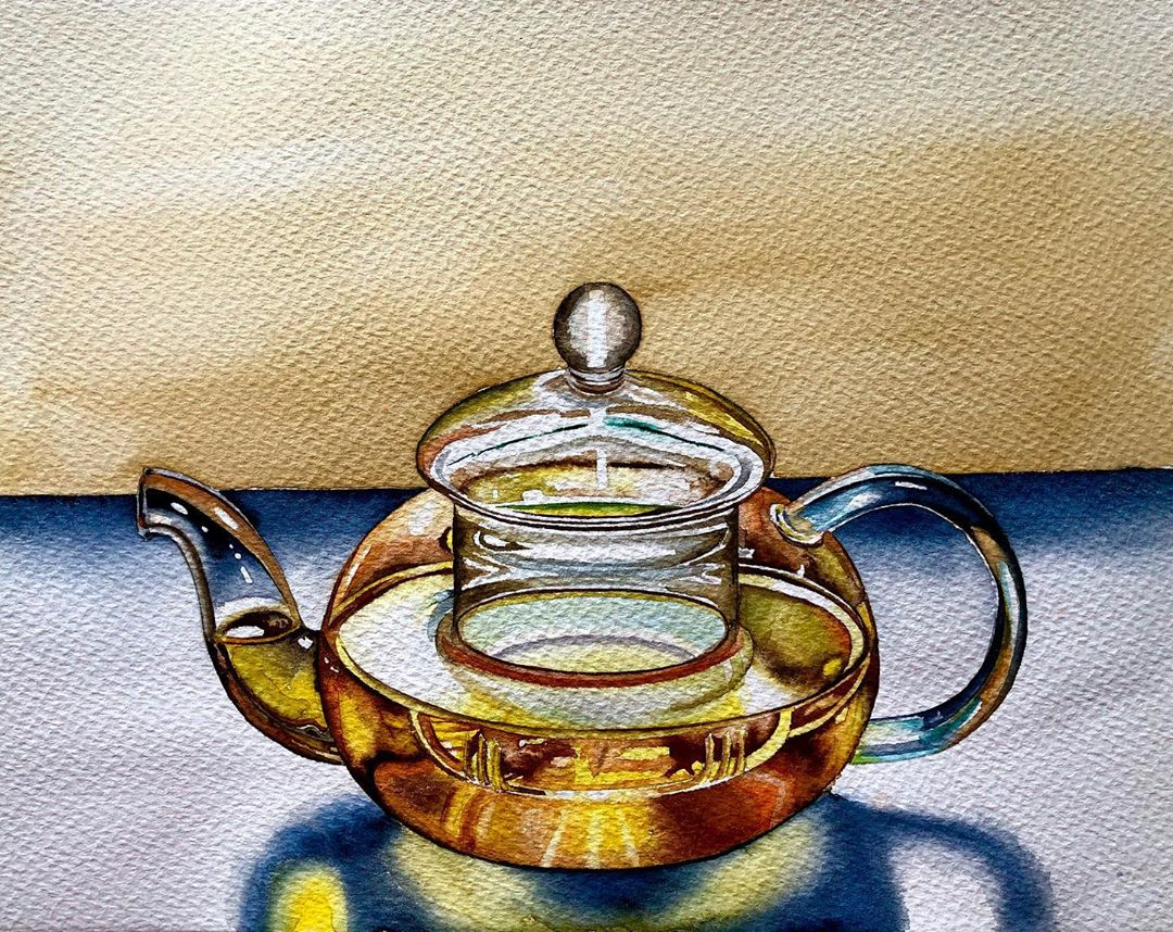 still life watercolor painting jar serpil umit