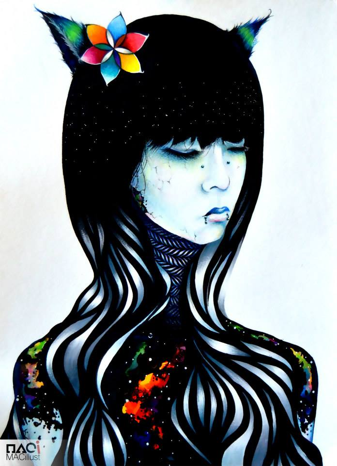 surreal woman illustration macillust