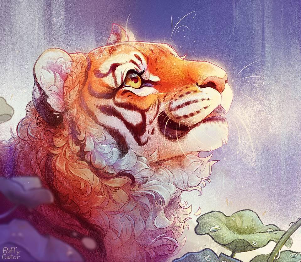 14 digital art tiger puffy gator