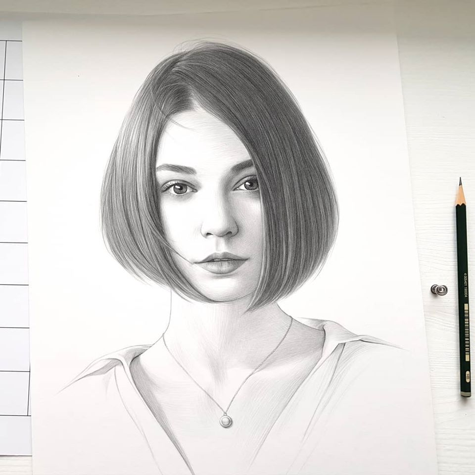 realistic pencil drawing pixie cut evgeni koroliov