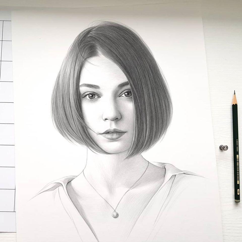realistic pencil drawing pixie cut evgeni koroliov
