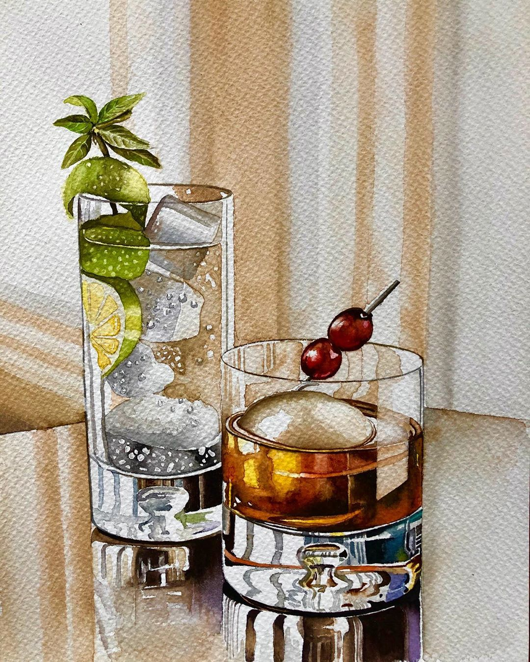 still life watercolor painting glass serpil umit