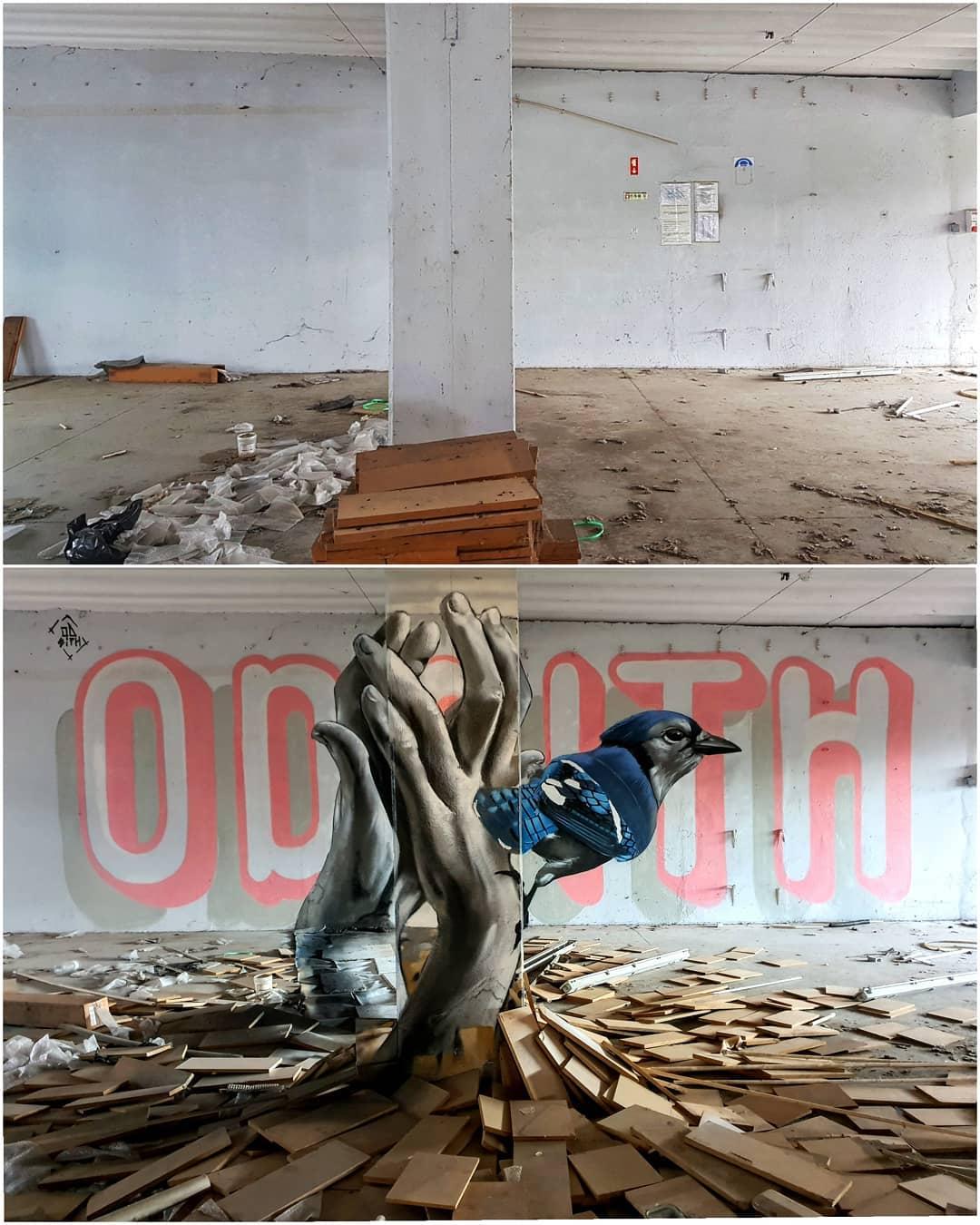3d wall art mural painting bird hand odeith