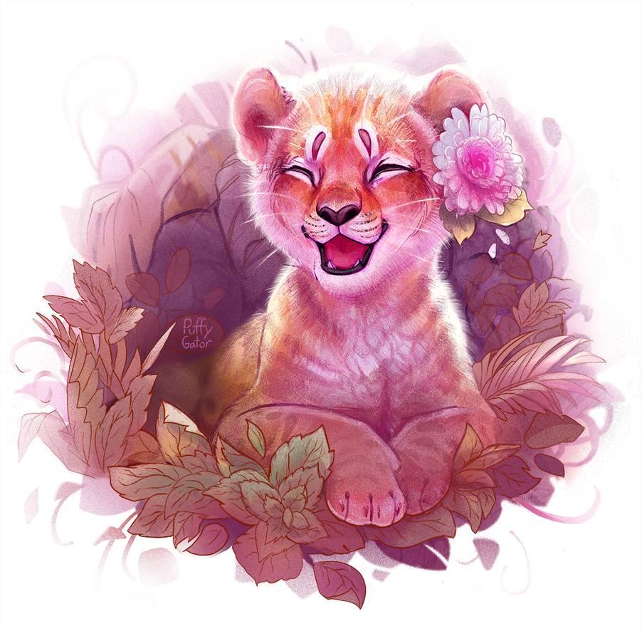 digital art tiger laugh puffy gator