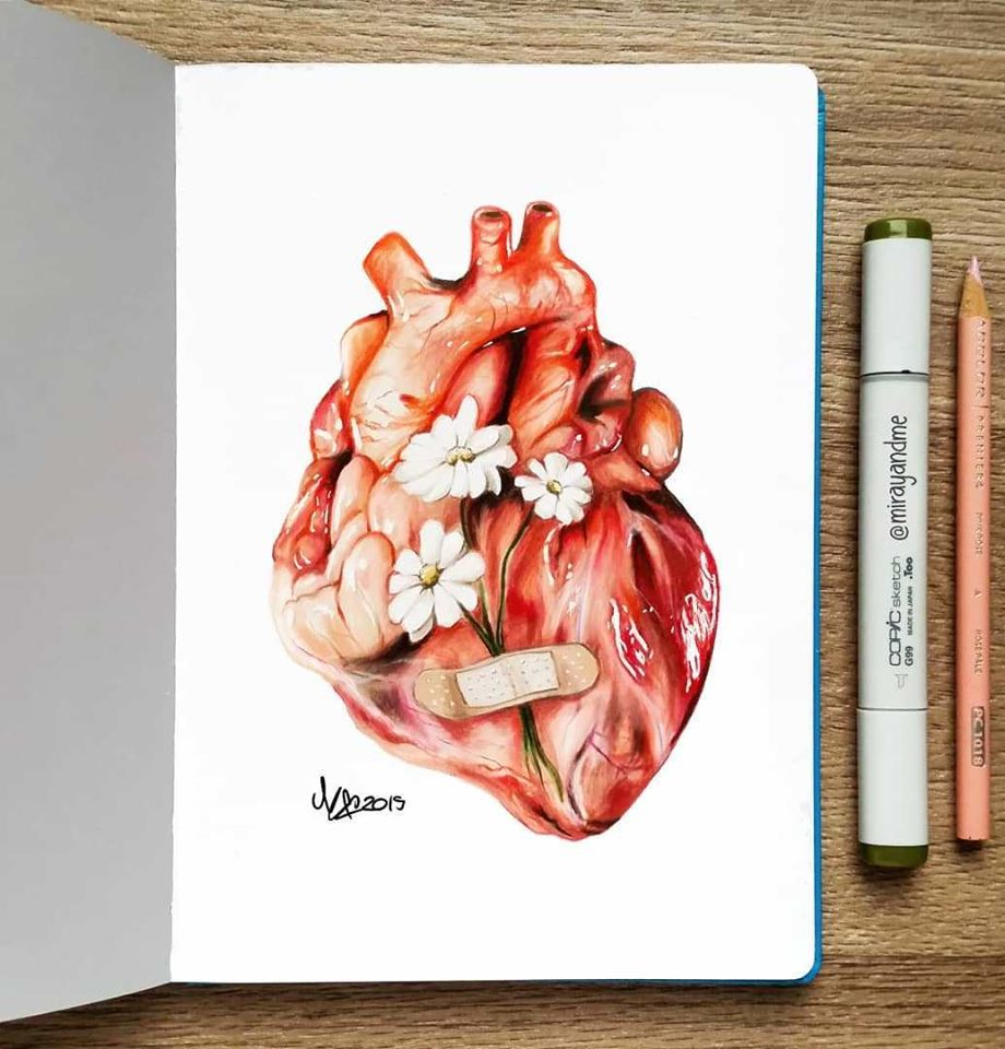 color pencil drawing heart miray