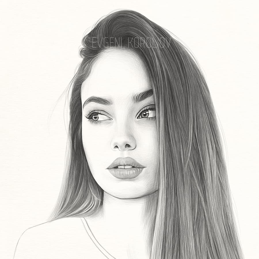 realistic pencil drawing side pose evgeni koroliov