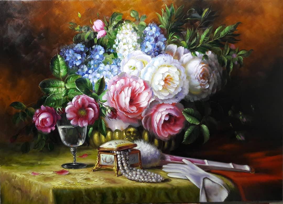 still life painting flowers blooms mahmood jafari