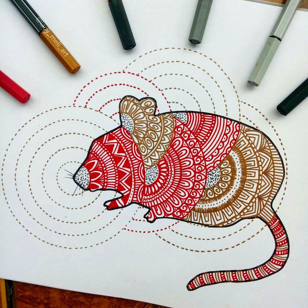 doodle art rat lady meli art