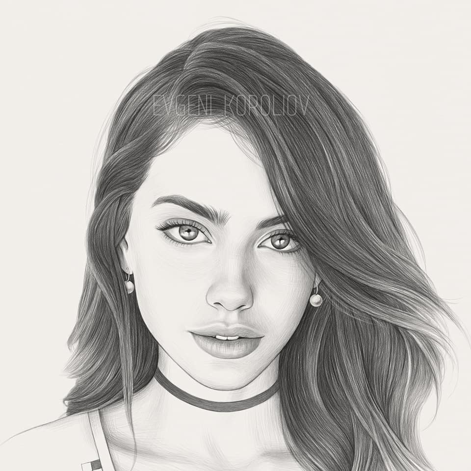 realistic pencil drawing straight hair evgeni koroliov