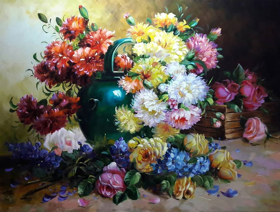 still life painting flowers flower bouquet mahmood jafari