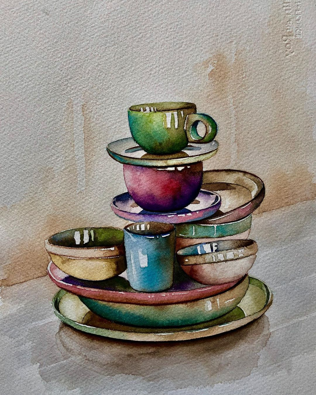 still life watercolor painting cup saucer serpil umit