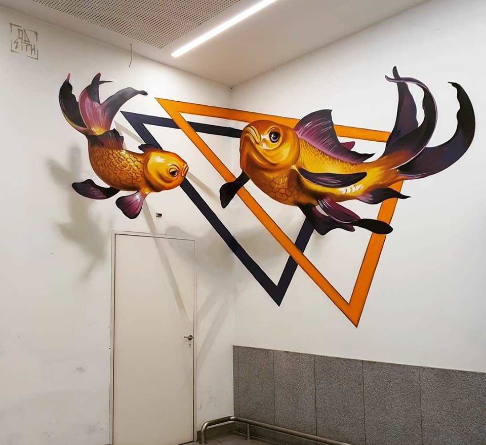 3d wall art mural painting fish odeith