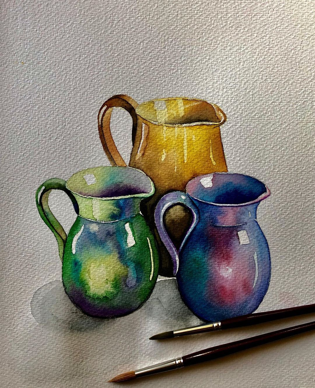 still life watercolor painting jars serpil umit