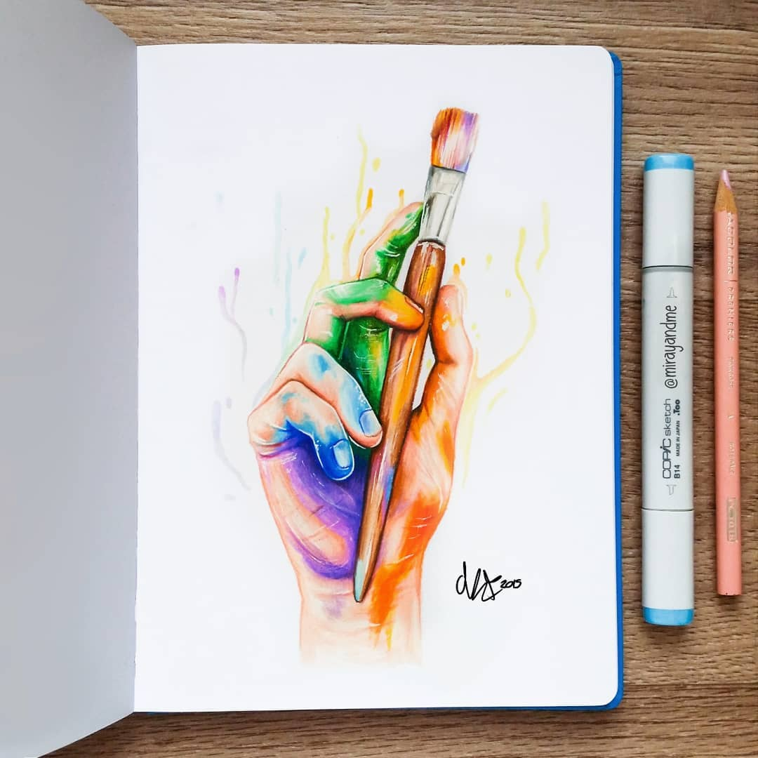 19 color pencil drawing paint brush miray