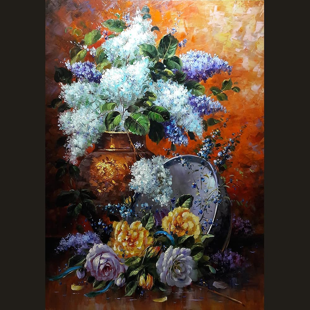 still life painting flowers white flowers mahmood jafari