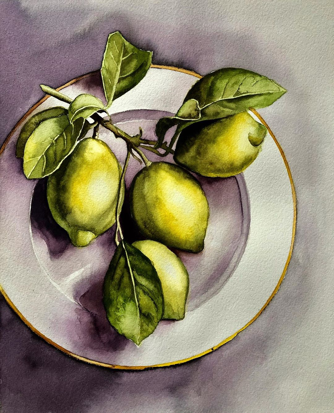 still life watercolor painting lemon serpil umit
