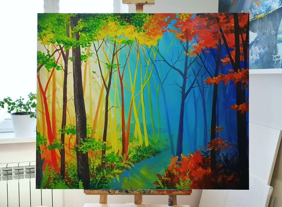 painting artwork forest andreeva ekaterina
