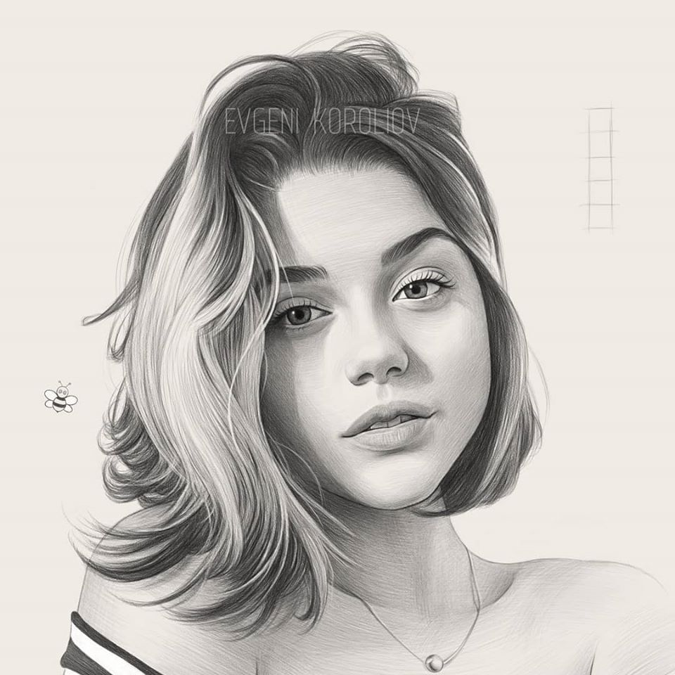 realistic pencil drawing blonde hair evgeni koroliov