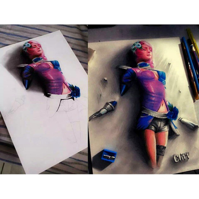 color pencil drawing 3d girl cliff beron