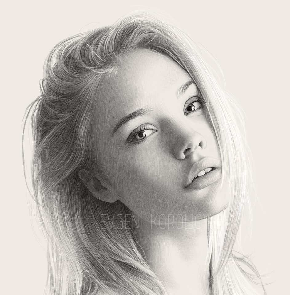 realistic pencil drawing woman evgeni koroliov