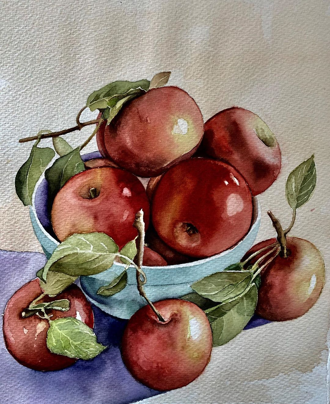 still life watercolor painting apples serpil umit